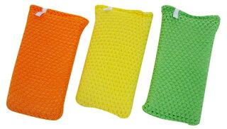 ポップなカラーのオレンジ☆イエロー☆グリーンの3個セットになります。ネットクリーナータイプなので、折り曲げて洗えます。コップやお皿の挟み洗いもOK!水含み・泡立ち・泡立ちバツグン!使用後はしっかり水切りをして保管してください。