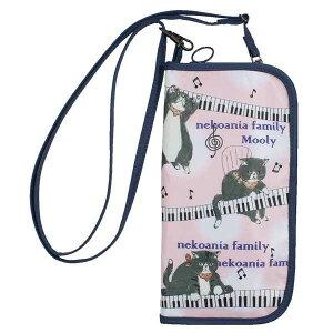 モーリー ストラップ付パスポートケース J532MO パスポートカバー 猫柄 ネコ ピンク かわいい トラベルグッズ ※納期約10営業日前後