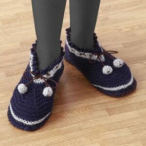 すべりにくい手編みルームシューズ 編み物キット 自分で編む室内履き ネイビー レディース 女性用