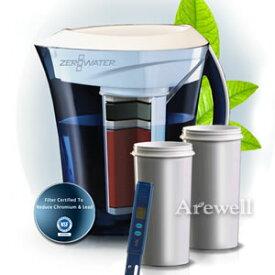 ZeroWater(ゼロウォーター) ピッチャーセット 3リットル、約コップ10杯分 ピッチャー本体&交換用フィルタカートリッジ&簡易水質計測器究極の5層ろ過式フィルターで水道水が不純物ゼロに。マイクロプラスチックも除去!浄水ポット 浄水器 卓上ポット型浄水器 水差し