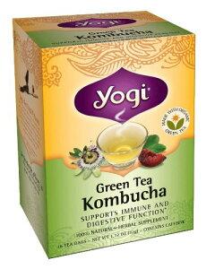 コンブチャ(コンブ茶) 16ティーバッグ×1箱 yogi tea(ヨギティー)のKombucha(こんぶちゃ、こんぶ茶)オーガニック緑茶と紅茶キノコ(紅茶きのこ)のコラボ ハリウッドで火がついたハーブ