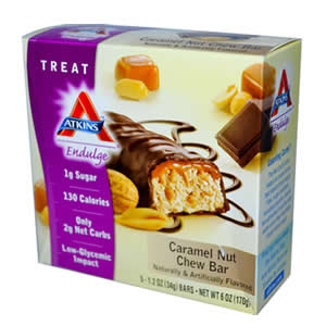 ローカーボ(低炭水化物)&低カロリーのヘルシースナックホールフード(未精製食物)にリッチなチョコやナッツをプラス♪忙しい毎日に手軽に栄養補給!Atkins(アトキンス) インダルジバー キャラメル ナッツチューバー5本入り