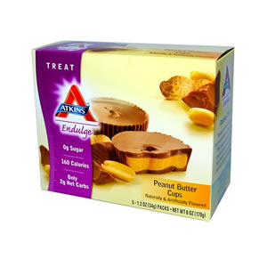 ローカーボ(低炭水化物)&低カロリーのヘルシースナックホールフード(未精製食物)にリッチなチョコやナッツをプラス♪忙しい毎日に手軽に栄養補給!Atkins(アトキンス) インダルジ ピーナッツバターカップ 5袋入り
