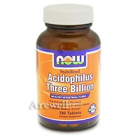 アシドフィルス菌 180粒(180タブレット)1粒に30億個のプロバイオティクス乳酸菌(アシドフィラス菌)がギュッ!常温保存可能なサプリ。腸内フローラ活性化サプリメント。腸内環境を整え、便通、お肌の調子、カンジダサポートnow foods(ナウフーズ社)