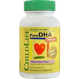 子供用ピュアDHA 90ソフトジェル子供の脳の生育を考えたDHA(ドコサヘキサエン酸)サプリグルテンフリー、カゼインフリー、アルコールフリー、アレルギーカットチュワブル 天然ベリー味チャイルドライフ社製