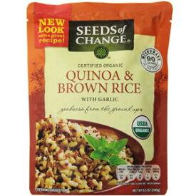 オーガニック キヌア&ブラウンライス(玄米)ガーリック風味 240g(お茶碗約2杯分)×3個(合計約6食分)チンするだけのスーパーフード「キヌア(キノア)」有機雑穀100%USDAオーガニック承認済雑穀メシで低カロリーで満腹メシ!