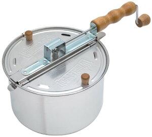 ポップコーンポッパー 容量5.7リットル(Silver) Whirley Pop社製ポップコーンマシーン(ポップコーンメーカー/ポップコーン鍋)キャラメルポップコーンが目一杯食べたい方に電気式とちがい