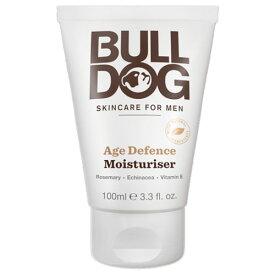 ブルドッグ(BULL DOG) エイジディフェンス モイスチャライザー 100ml男性用(メンズ)スキンケア。ローズマリー、エキナセア、ビタミンEの抗酸化物質を配合。シワ(しわ、皺)の出現を減らす洗顔後の保湿クリーム。メンズコスメ