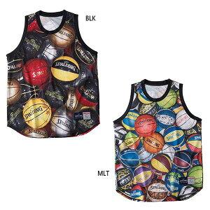 【送料無料】 スポルディング SPALDING メンズ タンクトップ ボールプリント バスケットボールウェア トップス ノースリーブシャツ プラクティスウェア SMT190310