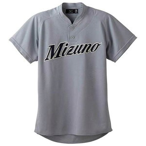 シャツ/セミハーフボタン/小衿付(05グレー)【MIZUNO】ミズノ野球 ウエア ユニフォームシャツ(12jc4f4005)*56
