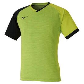 ゲームシャツ(卓球)(ユニセックス)(37ライムグリーン×ブラック)【MIZUNO】ミズノ卓球 ウエア ゲームウエア(82JA0003)*23