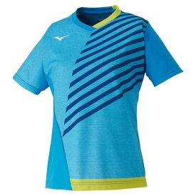 ゲームシャツ(卓球)(レディース)(24ディーバブルー×ライムグリーン)【MIZUNO】ミズノ卓球 ウエア ゲームウエア(82JA0202)*24