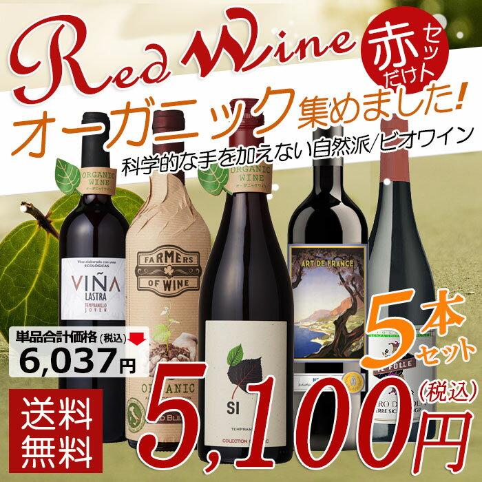 【送料無料】オーガニックのお酒集めました ビオワイン赤 バラエティ5本セット 辛口 赤ワイン フランス スペイン イタリア 【party】 ことりっぷ