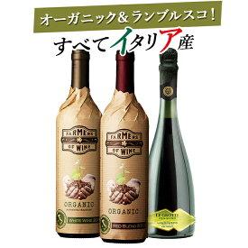 送料無料 北海道・沖縄・離島を除く プレゼントにピッタリ オーガニックワイン2本とスパークリングワイン1本 イタリアワイン赤白泡3本バラエティギフト スパークリングワイン 白ワイン 赤ワイン ギフトセット 辛口 甘口 ワインセット ワインギフト 夏ギフト
