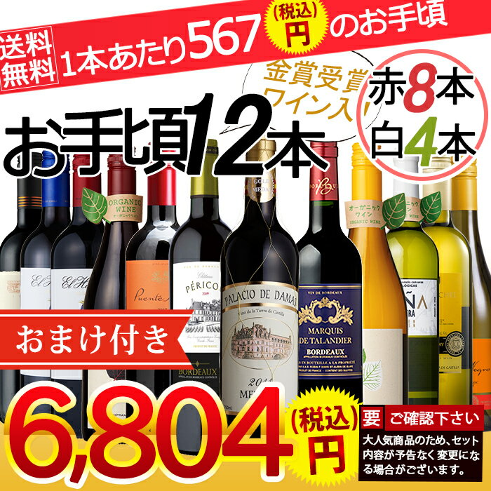 【送料無料】お手頃赤白12本セット(金賞受賞ワイン入り)12本ワインセット ワイン 赤ワイン 白ワイン ワインセット メダル