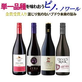 送料無料 北海道・沖縄・離島を除く 単一品種のワインを味わおう! ピノ・ノワール 飲み比べ 赤ワイン 4本セット ミディアム ワインセット ハンガリー フランス ルーマニア
