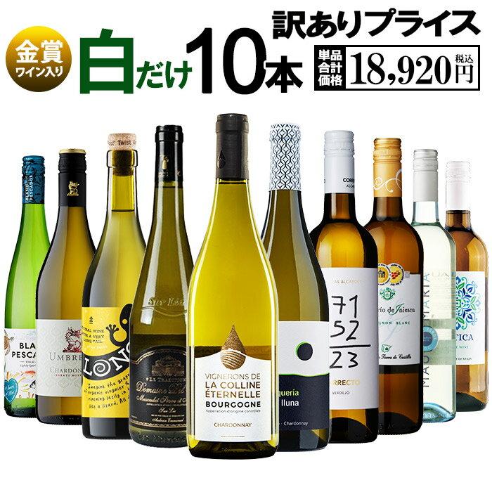 【送料無料 北海道・沖縄・離島を除く】決算訳ありプライス!白ワイン 10本セット E ワインセット ワイン 白ワイン 10本 辛口 訳あり