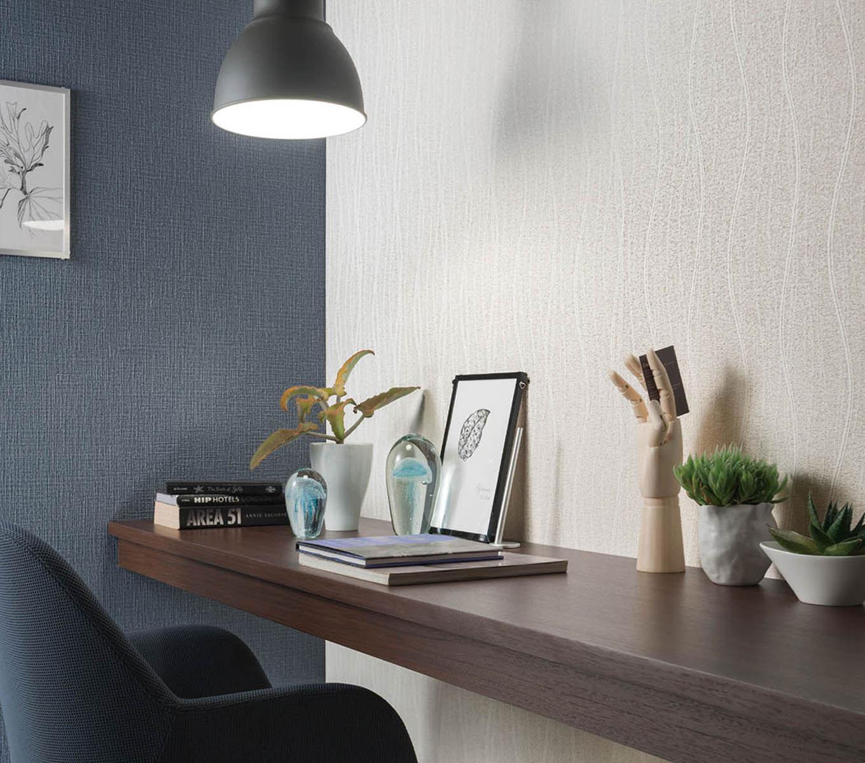 のりなし壁紙 のり付き壁紙 上品な織物調 シンコール ビッグエース BA6244-6245 藍 白