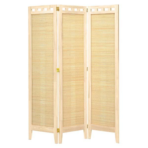 3連スクリーン ホワイト色 幅41.6×3P 高さ130 天然木 竹材 衝立 パーテーション 間仕切り ナチュラル シンプル 和テイスト デザイン SC-316 インテリア 家具 雑貨 セール 送料無料 ヴィヴェンティエ