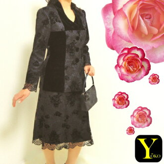 Checkered tastefully delicious ★ ★ rich ★ Russell lace and roses pattern flocked & velvet skirt suit 10P07Nov15