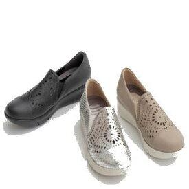 ◆【Miss Kyouko】ミスキョウコ 4E アラベスク柄パンチングスリッポン 12181(8818) 靴 レディース 婦人靴●送料無料