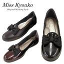 2020秋冬新作【Miss Kyouko】ミスキョウコ 4E 超軽量リボンオペラシューズ 9600  靴 レディース 婦人靴●送料無料