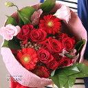 あす楽 【 送料無料 】 バラ ( 薔薇 )と 季節 の お花 の アレンジ ブーケ タイプL レッド ボリューム 花 花束 アレンジメント 誕生日 結婚祝い プレゼント 開店祝い 開業祝い 新築祝い