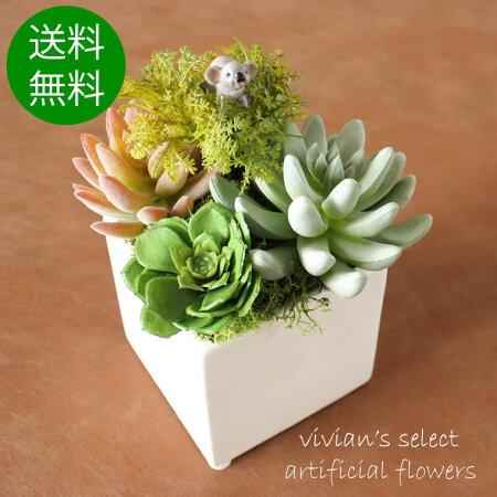 【送料無料】多肉植物ミディアムコアラのピック付陶器アーティフィシャルフラワー(造花)花屋