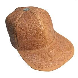 レザーカービングキャップ 帽子 ハンドメイド ヌメ革 かわいい おしゃれ 個性的 ナチュラル ウエスタン コンチョ