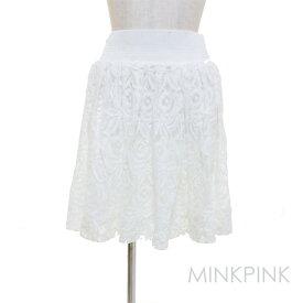 LAセレブ愛用オーストラリアブランドMink pinkミンクピンクフレアレーススカート 白 ホワイト ウエストゴム 膝丈 かわいい おしゃれ フェミニン 20代 30代 春夏秋冬