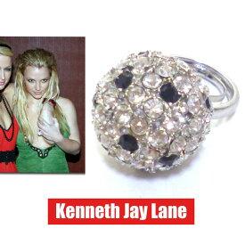 LAセレブ愛用ブランドKenneth jay lane ケネス・ジェイ・レーン ボールリング クリア ラインストーン3D 指輪 キラキラ ハリウッド女優 存在感 上品 きれいめ