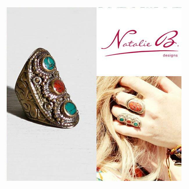 LAセレブ愛用 Natalie b designsナタリービーデザインズ チベットターコイズ&コーラル3ドットリング