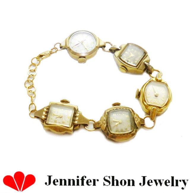 LAセレブ愛用 Jennifer Shon Jewelryヴィンテージウォッチブレスレット インポート カリフォルニア アンティーク レディース antique watch bracelet gold ゴールド