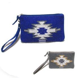 swarajスワラージ ビーズ刺繍のオルテガ柄♪クラッチバッグ ポーチ カジュアル おしゃれ かわいい ブルー グレー 3200001601