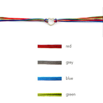 LA名流爱用Dogeared dogyadoopunhatofurendoshippuburesurettoshirukukodoburesurettoreddosutoringuburesurettomisanga silk bracelet frendship bracelet open heart尼龙编码混合物