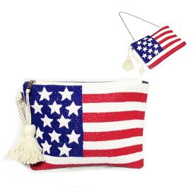 swarajスワラージ ビーズ刺繍の国旗♪クラッチバッグ ポーチ ポシェット  アメリカ国旗 ブラジル国旗 おしゃれ カジュアルクラッチバッグ 8243205 レディース 星条旗