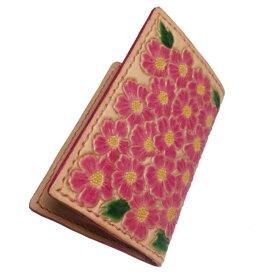 leather carvingレザーカービング繊細な花柄!カードケース 名刺入れ 名刺ケース ピンク 本革 リアルレザー プレゼントに レディース 可愛い おしゃれ 小花柄 ピンク ヌメ革 牛革 本革 ビジネスカード 20代 30代 40代 50代