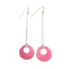 ニューヨーク発! lukaインポートピアスMaggieピンク シェル フープ シルバー silver shell pink earring 貝 かわいい おしゃれ フェミニン 20代30代