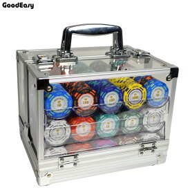 ポーカーチップ 40mm 600枚 & 収納ケース カジノチップ [送料無料] チップ専用6トレー付アクリル収納ボックス&チップ600枚セット