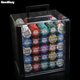 ポーカーチップ 40mm 1000枚 & 収納ケース カジノチップ [送料無料] チップ専用収納ボックス ブラック & チップのセット カジノ 小物 アイテム(2色&小王冠)