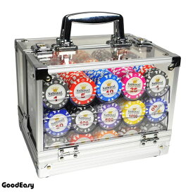 ポーカーチップ 40mm 600枚 & 収納ケース カジノチップ [送料無料] チップ専用6トレー付アクリル収納ボックス&チップ600枚セット(白&王冠)