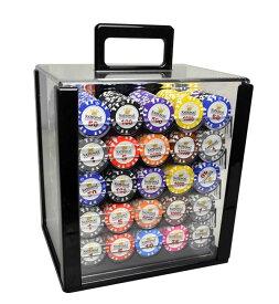 ポーカーチップ 40mm 1000枚 & 収納ケース カジノチップ [送料無料] チップ専用収納ボックス ブラック & チップのセット カジノ 小物 アイテム(白&王冠)