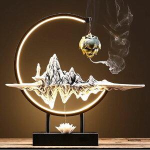 吊り下げ香炉 お香立て おしゃれ 香炉 アンティーク風 お香たて ledライト ledランプ ルームランプ led 山と蓮 [送料無料] style2