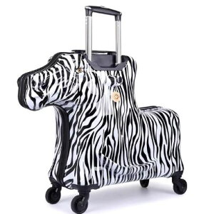 乗れるスーツケース 子供 キャリーバッグ スーツ ケース しまうま 馬/ゼブラ [送料無料 輸入品] キャリーケース かわいい 旅行バッグ キャスター 旅行カバン キャリーバッグ トランク トラン