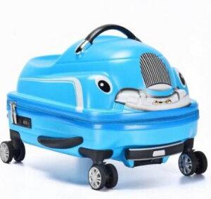 乗れるスーツケース 子供 キャリーバッグ スーツ ケース くるま 車 カー 乗用車 自動車/青ブルー [送料無料 輸入品] キャリーケース かわいい 旅行バッグ キャスター 旅行カバン キャリーバ