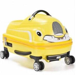 乗れるスーツケース 子供 キャリーバッグ スーツ ケース くるま 車 カー 乗用車 自動車/黄色 イエロー [送料無料 輸入品] キャリーケース かわいい 旅行バッグ キャスター 旅行カバン キャリ
