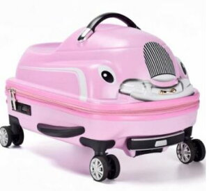 乗れるスーツケース 子供 キャリーバッグ スーツ ケース くるま 車 カー 乗用車 自動車/ピンク [送料無料 輸入品] キャリーケース かわいい 旅行バッグ キャスター 旅行カバン キャリーバッ