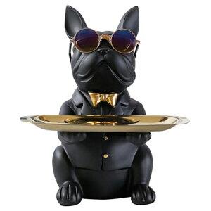 小物トレイ おしゃれ 貯金箱 インテリア かわいい 眼鏡スタンド 玄関 小物置き 台 アクセサリートレー 小物入れ ブルドッグ 黒 ブラック 色: B [送料無料 輸入品] 犬 いぬ イヌ フレンチブル