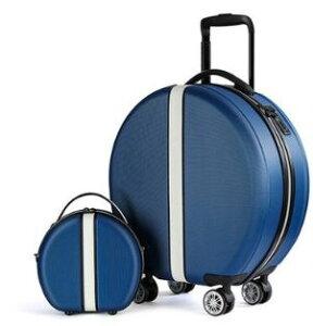 キャリーケース かわいい おしゃれ キャリーバッグ スーツケース 丸型 ショルダーバッグセット ブルー 青 色: Blue SET [送料無料 輸入品] 丸い旅行バッグ キャスター付き 1泊2日 2泊3日