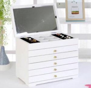 アクセサリー 収納 ミラー付 アクセサリーケース ジュエリーボックス 大容量 木製 6段ホワイト白 [送料無料 輸入品] ジュエリーケース おしゃれ 引き出し アクセサリーボックス